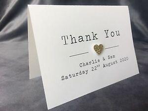 Glitter Heart Personalised Handmade Wedding Thank You Cards & Envelopes. Rosie