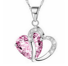 Fashion Women Heart Pink Crystal Rhinestone Silver Chain Pendant Necklace ~!!