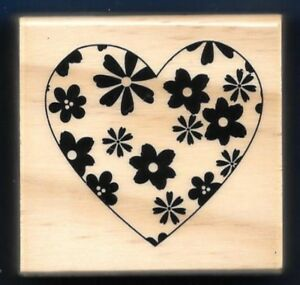 HEART FLOWERS Design NEW Medium Wood Mount HOBBY CRAFT RUBBER STAMP