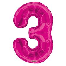 """Large Jumbo Pink Metallic Number 3 Foil Helium Balloon 34""""/87cm (Not Inflated)"""