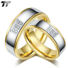 TT S.Steel Gold Eternity CZ Wedding Band Ring Size 6-15 Mens & Womens Set Couple