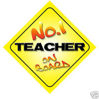 No.1 Teacher On Board Novelty Car Sign New Job Gift