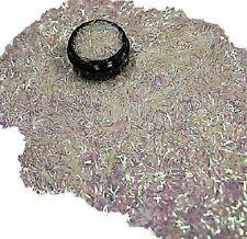 3ml Nail Art - Glitterfäden (0,2x4mm) Acryl Dose, Weiß Irisierend,Nr. 808-025-a
