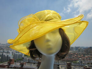 Womens Vintage Kentucky Derby Sun Hat Wide Brim Wedding Church Racing Hat A002