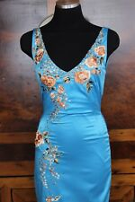 MANDALAY EMBROIDERED BEADED COCKTAIL EVENING DRESS PRISTINE CONDITION