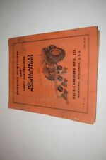 Allis Chalmers Wd 62 And 63 Mounted Plows Parts And Operation Instructions