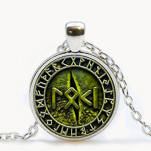 Loki, Snake Eye & Runes Pendant Necklace - Bronze or Silver - UK Stock