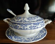 Vintage Blue/White Verbanum Stone Soup Tureen with Ladle and Underplate