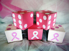 1 Jumbo Lawn Yard Wood DICE - BREAST CANCER AWARENESS Yahtzee,Bunco,Farkle,Decor