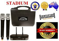 Stadium Twin UHF 60M Wireless MIC Microphone Pack transmitter Carry Case WIMIC2B