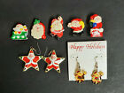 Lot of Christmas Holiday Santa Jewelry - Earrings, Button Covers