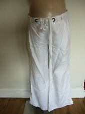 MAMAS & PAPAS MATERNITY WHITE UNDER BUMP WIDE LEG LINEN TROUSERS SIZE 14