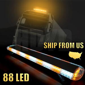"""88LED 47"""" Strobe Light Bar Amber White Emergency Beacon Warn Tow Truck Response"""