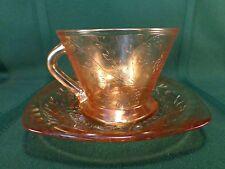 Floragold Louisa Iridescent Cup & Saucer / Sherbet Plate Jeannette Glass