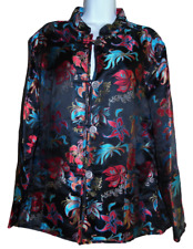 Gorgeous Black w/Multicolor Print Asian Themed LS Silk Blend Jacket - 3 or XL