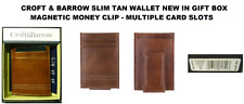CROFT & BARROW MEN'S SLIM BROWN MAGNETIC CLIP FRONT POCKET NEW IN BOX/TAGS