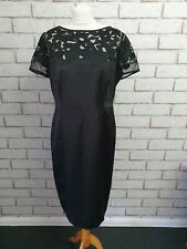 COAST BLACK EVENING PENCIL LAZER CUT  DRESS SIZE 16 REF 41/42