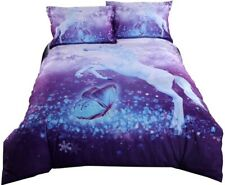 Purple Bedding Set,Duvet Cover Set, Queen/Full/Twin,3D Printed Unicorn #4 PCS