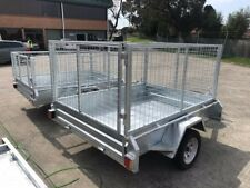 """6x4 Galvanised Box Trailer Heavy Duty Checker Plate 900mm cage TIPPER 14"""" wheels"""