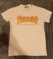 Thrasher Men's Flames White Short Sleeve T Shirt  Clothing Skateboarding