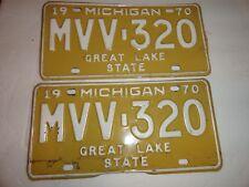 1970 matching set vintage Michigan license plates Metal USA MVV 320
