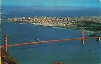 Postcard Air View Golden Gate Bridge San Francisco California