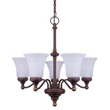 NEW 5LT Classic Chandelier Lamp Light Metal W/ Glass Retro Vintage-ORB Bronze