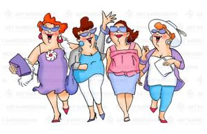 Art Impressions Girlfriends UPTOWN GIRLS Stamp Ladies Women Walking Shopping