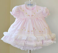 NWT Will'beth Pink Color Heirloom Lace 2pc Dress Preemie Bloomers Girls Frilly