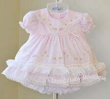 NWT Will'beth Pink Color Heirloom Lace 2pc Dress Newborn Bloomers Girls Frilly