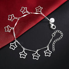 "Stars Women Anklets Chains Bracelet 9.6"" New Arrival Sexy 925 Silver Love Hollow"