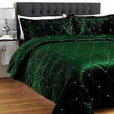 5 PC King green Velvet Crystalised Bedspread / Coverlet Bedding Set Xmas