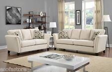 Comfort Design Fabric Arm Trim Ivory 2 Pc Sofa Love-seat For Living Room