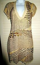 Vtg Couture Backless Brass Discs Metallic Cocktail Fitted Top Sexy Flattering