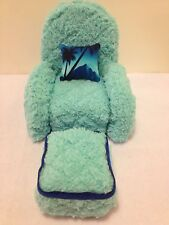AQUA CHENILLE CHAIR With Ottoman For Monster High, Barbie Or Bratz Dolls