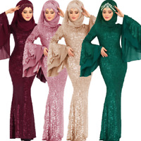 Women's Muslim Islam Long Sequin Bodycon Dress Prom Ball Evening Cocktail Party