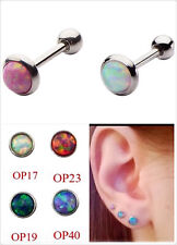 316L 6mm Opal Top 16g Ear Tragus Cartilage Helix Barbell Stud Body Piercing 1pc