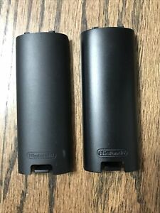 2 Original Black Wii Remote Controller Battery Back Lid Cover Replacements OEM