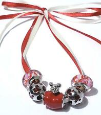 Murano Red Swirly Swirl, Mickey Mouse ,Red Mickey Apple Charm Set of 5