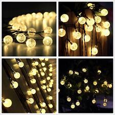 6m 30LED Solar Lichterkette Kugeln Innen Außen Garten Leuchte Party Licht Deko