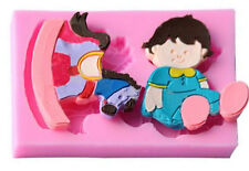 Child & Rocking Horse 2 Cavity Silicone Mold for Fondant, GP, Chocolate, Crafts