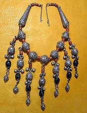 Antique Yemen Bedouin Ethnic Silver Filigree Wedding Necklace W/ Coral & Dangles
