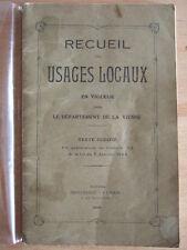 RECUEIL DES USAGES LOCAUX EN VIGUEUR DEPARTEMENT DE LA VIENNE. 1936.