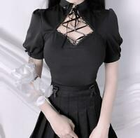 Womens Gothic Lolita Puff Sleeve Lace Up Bow Tie Slim Fit Blouse Shirt Top SKGB