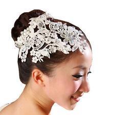 Accessoire coiffure mariage diadème chignon perles dentelle à fleur strass blanc