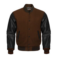 Varsity Bomber Letterman Baseball Brown Wool & Black Leather Sleeves jacket