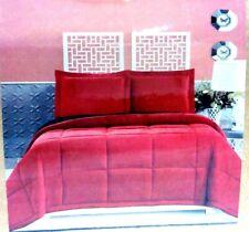 Goose Down Alternative Comforter Set Burgundy / Black Size Twin Twin Xl - New