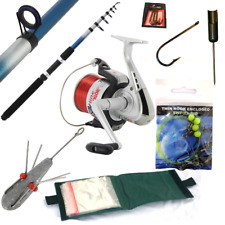 SEA FISHING TRAVEL SET UP 10FT TELESCOPIC ROD + REEL COMBO WITH TACKLE AND LINE