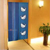 NOREN Doorway Curtain Japanese Room Divider 85×150cm Lucky Four Puffer Fishes