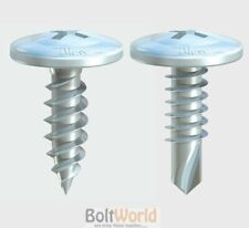WAFER HEAD DRYWALL / DRY LINING SCREWS, SELF DRILLING OR SHARP POINT ZINC PLATED